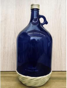 Бутель обплетена з закруткою синя, 3 л.